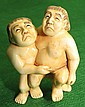 Ivory Netsuke Japanese Sumo Wrestlers