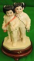 Ivory Figure of Girls Going to School .Polychrome
