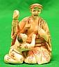 Old Ivory Netsuke Lady w/ Child, Signed