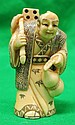 Old Ivory Netsuke Mandarin Man w/ Mask, Signed