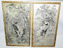 Pair of Art Nouveau Needlepoint, Romantic Scenes