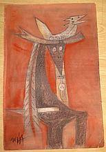 Wilfredo Lam - Gouache on Cardboard - Abstract