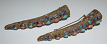 Pair of Gold over Silver Philigrane Brooches Nails