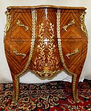 French Style Commode ,Marqueterie, marble top