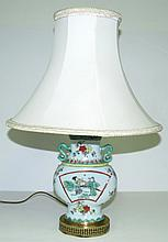 Antique Chinese Porcelain Lamp w/ Shade H: 19