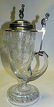 Art Deco Stein, Engraved Crystal and Pewter