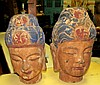 Pair of Chinese Carved Heads 1820 , polychrome