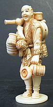 Ivory Sculpture Chinese Man H: 3.5
