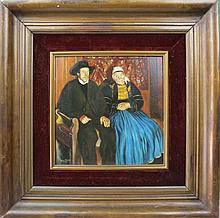 Oil on Wood, Couple, signed Raoul Thiele, c.1900