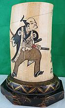 Brush Stand Carved Ivory Polychrome Japan 1880