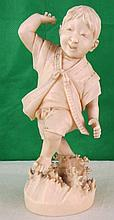 Chinese Boy Playing, Carved Ivory 1910 H: 3.8