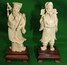 Chinese Pair of Ivory Figures (1890) Warriors