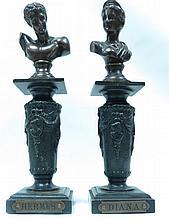 Pair of Miniature Bronze Busts on Pedestals H: 6