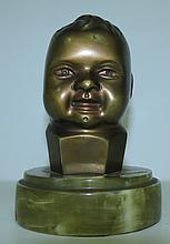 Art Deco Bronze Head of Child H: 5