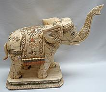 Elephant Polychrome Figure Carved Bone, China