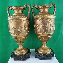 Pair of Bronze Urns F. Barbedienne France 1890