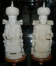Pair Antique Chinese Ivory Emperor & Empress