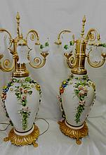Capodimonte Monumental Lamps - Italy Signed