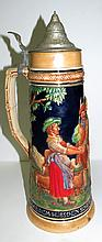 German Tankard with Figures H: 16