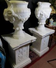 Carrara Pair Urns, Italian Marble H55