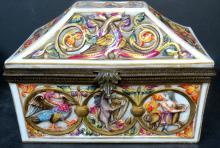 Capodimonte Box w/ Bronze Italy 1900 5
