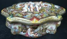 Capodimonte Box w/ Bronze Italy 1880  5