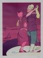 Valerio ADAMI (1935)  Les danseurs  lithographie en couleurs sur papier  signé en bas à droit. Justifié HC en bas à gauche   65 x 49,5 cm