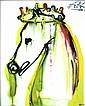 Salvador DALI (1904-1989)  Caligula, les chevaux daliniens  Céramique d'après une aeuvre originale peinte par l'artiste en 1971  Signé en haut à gauche. Tirage limité à 490 exemplaires numérotés de numérotés de I/XD à XD/XD  25 x 20 cm