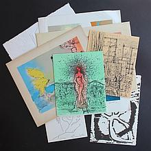 Lot de cartes de vœux avec lithographies originales signées par : GAVEAU, CARZOU, GUIRAMAND, LAPORTE, VALADIE, TOBIASSE, BONNEFOIT …