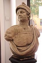 Buste en pierre reconstituée figurant un soldat romain.