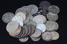 Lot de pièces en argent , principalement des francs