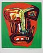 Bengt LINDSTRÖM (1925-2008)   Composition au visage  Lithographie en couleurs sur papier.   Signé en bas à droite. Numéroté 45/100 en bas à gauche  67 x 54 cm