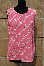 CHANEL  Débardeur en soie imprimée rose et blanc