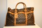 VUITTON - sac à chaussures, toile monogrammée et cuir vachette,   bon état