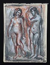 Jaime Antonio COLSON (1901-1975)  Deux nus féminins face à face, Barcelone - 1947