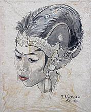 Julius WENTSCHER (1842-1918)  Portrait de femme asiatique en costume