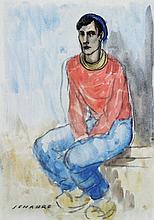 Ramon JOU SENABRE (1893-1978)  Catalan assis au pull rouge