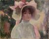 Attribué à Victor Gabriel GILBERT (1847-1935)  Jeune fille au chapeau  Huile sur toile   33 x 42 cm