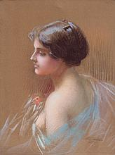 Delphin ENJOLRAS (1857-1945)  Portrait de jeune femme en buste  Pastel sur papier marouflé sur toile  Signé en bas à droite  59 x 44 cm