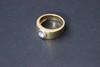 Bague solitaire en or jaune avec diamant, taille 70  P : 20g