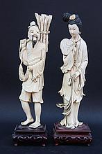 CHINE Lot de deux sujets en ivoire