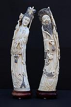 CHINE, début du XXème siècle Paire de sujets en ivoire