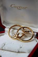 CARTIER paire de boucles d'oreille créole avec fleurs en diamant , boite et certificat d'origine