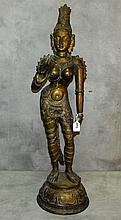 Large antique bronze Hindu goddess figure. H:34