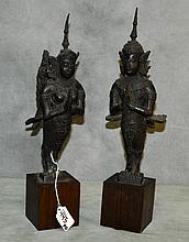Pair bronze Thai winged figures. H:15
