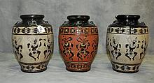 3 Thai ceramic jars. H:11.5