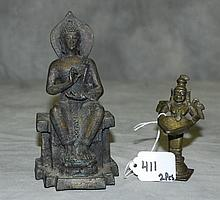 2 Bronze buddha figures. Largest H:6.25