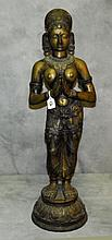 Large Antique Bronze Hindu Goddess figure . H:33