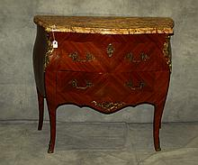 19th C French marble top 2 drawer commode. H:35