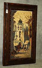 Oil on canvas of village scene signed lower left
